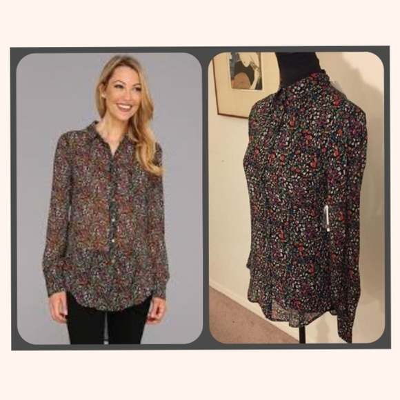 0446e82c1a4a2c Vince Camuto Tops | Two By Black Floral Chiffon Hilo S | Poshmark